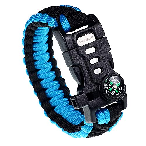 Paracord Survival Bracelet with Paracord Rope, 5-in-1 Tactical Bracelet Fire Starter, Compass, Emergency Whistle & Small Knife for Hiking Traveling Camping Gear Kit (Black_Blue)