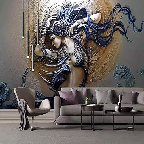 Papel Pintado Pared Moda con abalorios de pintura de belleza. Fotomurales Vista 3D Sala Living Oficina Dormitorio 350x245 cm