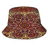 Yoliveya Sombrero de Pesca,Azulejo de tracería Transparente Diseño Mehndi étnico,Senderismo para Hombres y Mujeres al Aire Libre Sombrero de Cubo Sombrero para el Sol