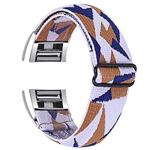 GhrKwiew Correa de Reloj Compatible con Fitbit Charge 2, Pulsera de Banda Transpirable con Bucle elástico Suave Mujer Hombre Pulsera de Repuesto elástica Ajustable para Fitbit Charge 2 (L12)