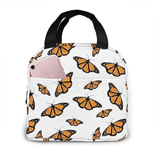 Bolsa de almuerzo portátil con aislamiento de mariposa con cremallera y bolsillo frontal, caja impermeable para mujeres, hombres, niños, niñas, oficina, escuela, senderismo, playa, picnic, pesca