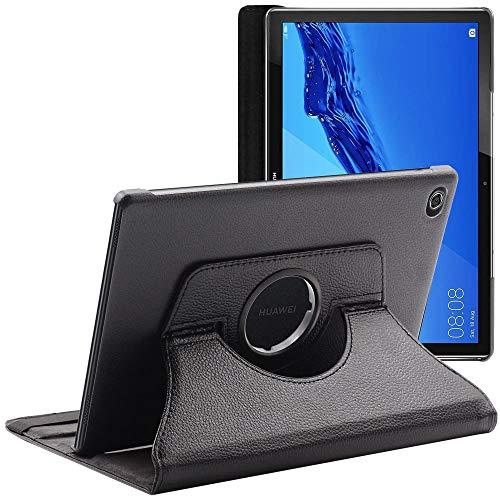 ebestStar - Cover Compatibile con Huawei MediaPad M5 Lite 10.1 Custodia Protezione Pelle PU con Supporto Rotazione 360, Nero [M5 Lite 10.1: 243.4 x 162.2 x 7.7mm, 10.1  ]