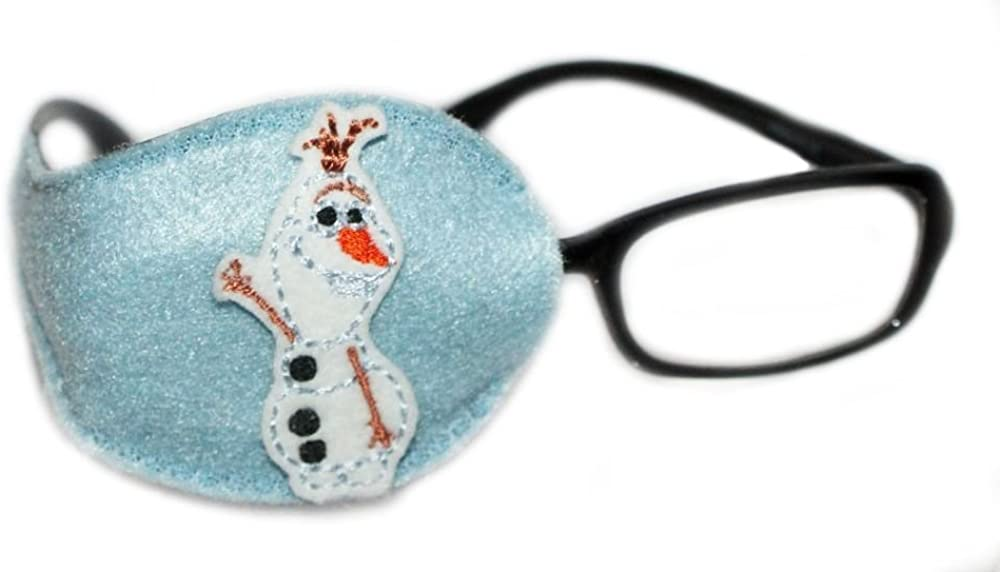 Kids and Adults Orthoptic Eye Patch For Amblyopia Lazy Eye Occlusion Therapy Treatment Design #29 Snowman on blue