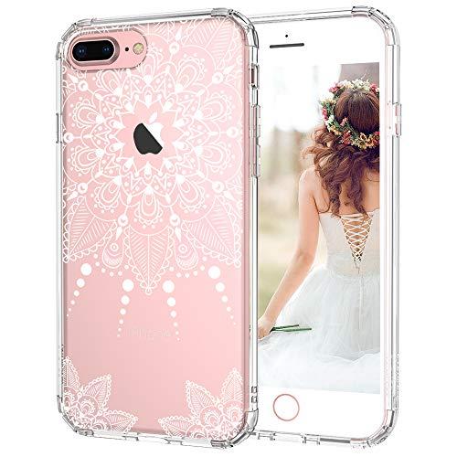 MOSNOVO iPhone 7 Plus Hülle, Weiß Henna Mandala Blumen Klar Entwurf TPU Bumper Rahmen mit Plastik Hart Case Durchsichtig Transparent Schutzhülle für Apple iPhone 7 Plus (5,5 Zoll), iPhone 7 Plus Case