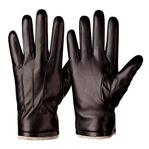 Winter PU Leather Gloves For Men, Warm Thermal Touchscreen Texting Typing Dress Driving Motorcycle Gloves With Wool Lining (Brown-S)