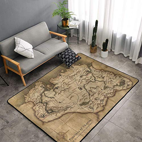 Premium Ultra Soft Durable Thick Area Rug - Luxury Fashion Non-Slip The Old Map in Game Province of Skyrim Large Rugs Bedside Mats Home Decor Carpet for Bedroom Nursery Living Room Playroom