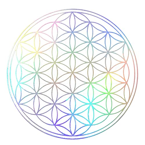 atalantes spirit Blume des Lebens Aufkleber SetMix 12 Stück: 3cm + 5cm - je 2 x gold + 2 x silber + 2 x Hologramm mit Schutzlack - Folie transparent