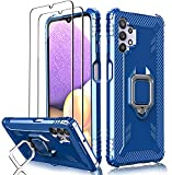 Milomdoi Case for Samsung Galaxy A32 5G with 2 Pack Screen Protector, [Not Fit 4G] [Military Grade Protective ] Heavy Duty 360°Finger Ring Holder Kickstand Cover for Samsung A32 5G Phone Case-Blue