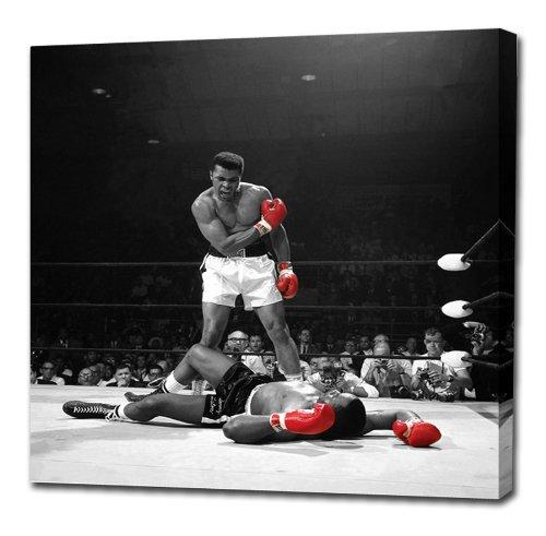 Muhammad Ali V Sonny Liston von Canvas35rot Handschuhe (Amazing Qualität dicken Kiefer) 76,2x 76,2cm Beeindruckende Galerie Gerahmter Kunstdruck Bild Poster, fertig zum Aufhängen NEU Boxen, Leinwand, mehrfarbige,
