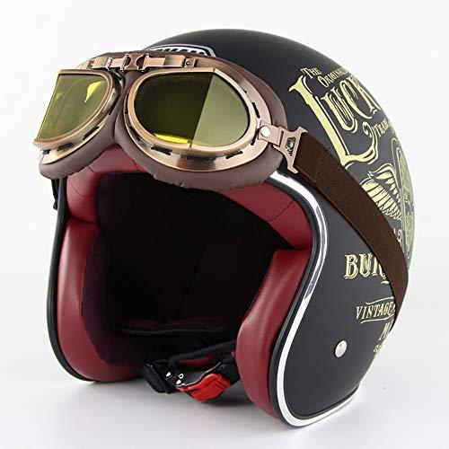 Aks Yue Halb Motorrad Helm Retro Harley 3/4 Motorradhelm, Motorrad Jethelm mit Goggle, abnehmbar und waschbar Ohr Futter, Schwarz Gelb,M