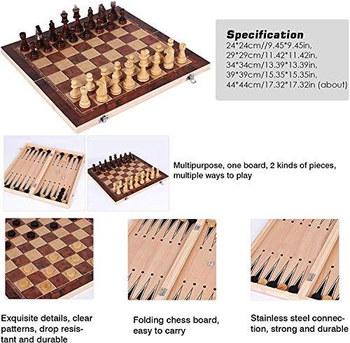 Sunshine smile Schachspiel aus Holz,3 in 1,Tragbare Holz Schachbrett,Chess Board Set klappbar,Schachspiel Für Party Familie Aktivitäten,Schach Schachbrett Holz hochwertig,Schachspiel