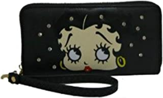 Betty Boop Wallet - Clasp Closure or Zip Around Clutch Wallet Wristlet Phone Case Organizer Wallet with Wrist Strap