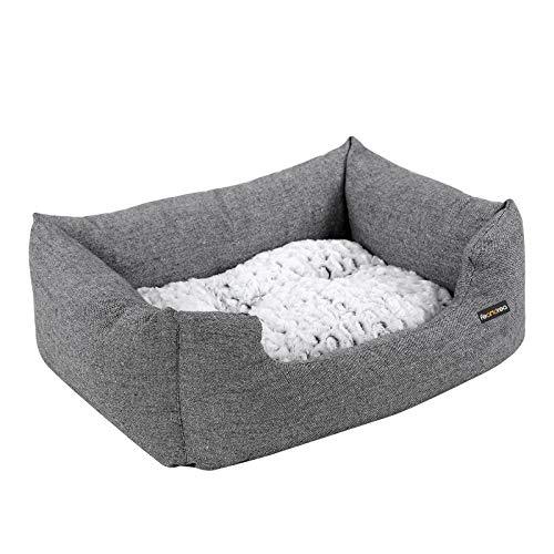 FEANDREA Kleines Hundebett mit Wendekissen und Anti-Rutschboden, Außenmaße: 60 x 50 x 20 cm, PGW22G