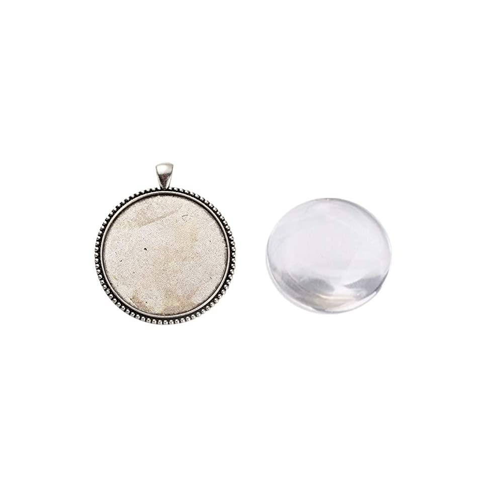 ARRICRAFT 6 Sets Alloy Antique Silver Pendant Cabochon Settings with Round Glass Cabochon Cover for DIY Pendant Making, Tray 40mm