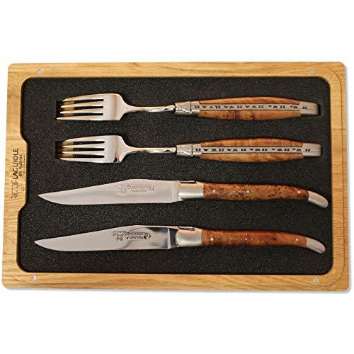 Laguiole en Aubrac Set de 2 fourchettes à couteaux Thuya