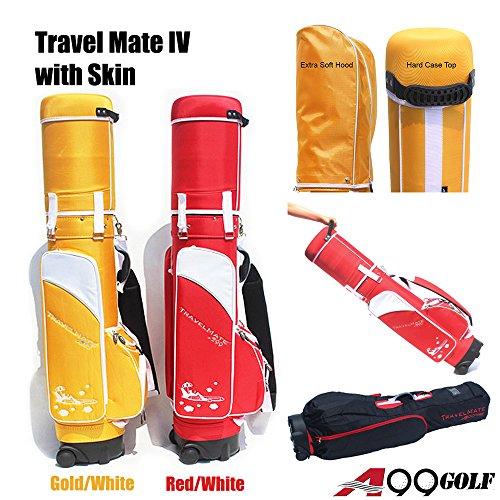 A99Golf Travel Mate IV with Skin Wheeled Cover W. TSA Lock Air Porter Golf Travel Bag cart Bag (Red/White)