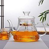 YJX Tetera humeante de Vidrio té Negro Resistente al Calor Olla de Vapor Juego de té de Vidrio Saludable-UNA