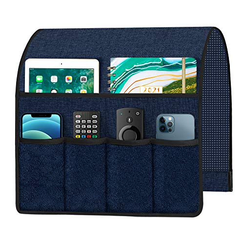 Joywell Sofa Armrest Organizer with 6 Velvet Pockets Remote Holder on Couch & Chair Arm for TV Remote Control, Magazine, Books, Cell Phone, iPad, Blue