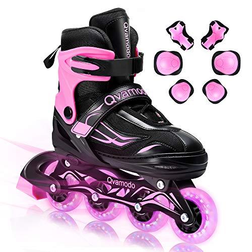 Qvamodo Pink Adjustable Inline Skates for Kids Girls Women with Fun...
