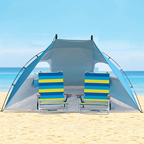 Easy Set Up Portable Sun Shelter Beach Tent Camping Shelter, 9ft Large Tent For Family, UV Protection,Blue