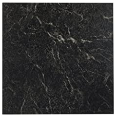 Achim home furnishings FTVMA40920 nexus 12-inch vinyl tile, marble black with This is highly durable This product is manufactured in china Just Peel 'N' Stick Stunning high gloss No wax Finish 5 year limited warranty 1.2mm Thickness