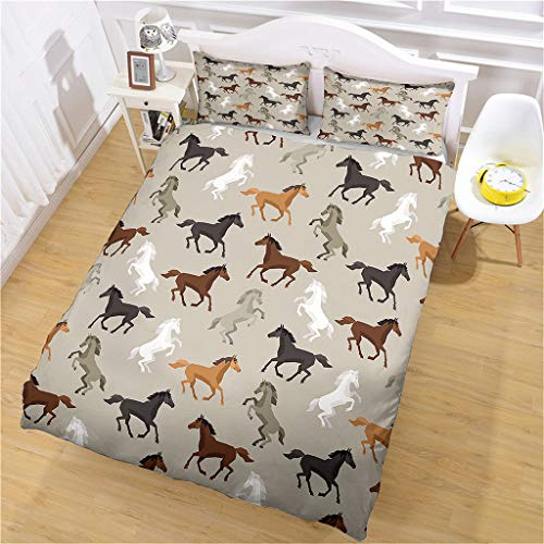 HHANN Duvet Cover Sets Single Size - 3 Pieces Animal Horse Print Pattern Microfiber Polyester Bedding Set, 1 Ultra Soft Quilt Duvet Cover 135X200cm With 2 Pillowcases, For Baby Kids Adults Teenagers