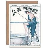 Artery8 La Vie Parisienne Fishing in Bath Magazine Cover Sealed Greeting Card Plus Envelope Blank Inside París Pescar Portada de la Revista Cubrir