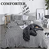 CLOTHKNOW Striped Comforter Set Queen Black and White Bedding Sets Full for Boys Girls Ticking Stripes Pattern Men Women Full Size Bedding Comforter Sets with 2 Pillowcases