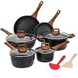 ESLITE LIFE Pots and Pans Set Nonstick Induction Cookware Set Granite Coating with Frying Pan, Saute Pan, Sauce Pan, Stock Pot, Spatula and Ladle, 12 Piece, Black