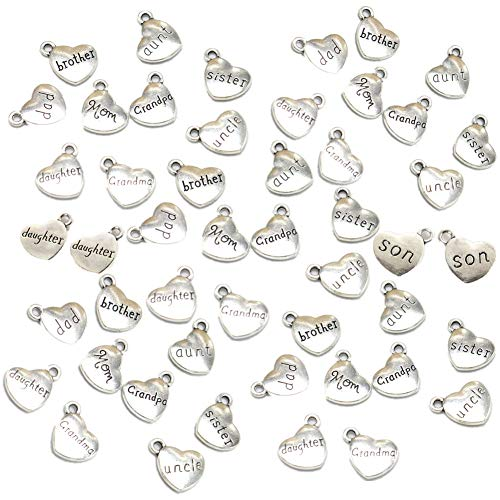 50 Pack Family Pendant Heart Shaped Charms Mom Dad Brother Sister Grandma Grandpa Uncle Aunt Daugther Son Alloy Loose Beads for Jewelry Making Wine Charms Decoration