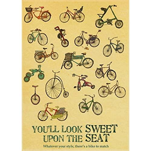 CINRYTN Poster in Tela Sport Equitazione Ciclismo Concorso Bicicletta Film Classico Poster Vintage Pittura Decorazione per La Casa da Parete 50 * 70 Cm Senza Cornice