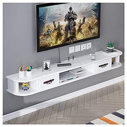 Peakfeng Mobile TV, TV Loward, Scaffali galleggianti, Scaffale del Supporto per TV Galleggiante, Bianco e Marrone, 120 130 150 cm Console multimediale a Parete, Facile da installare.