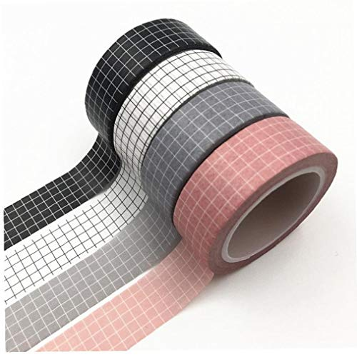 Zonfer 4pcs Black White Grid Washi Klebeband Japanische Papierplaner Masking Tape Klebeband Aufkleber Dekorative Stationery Tapes