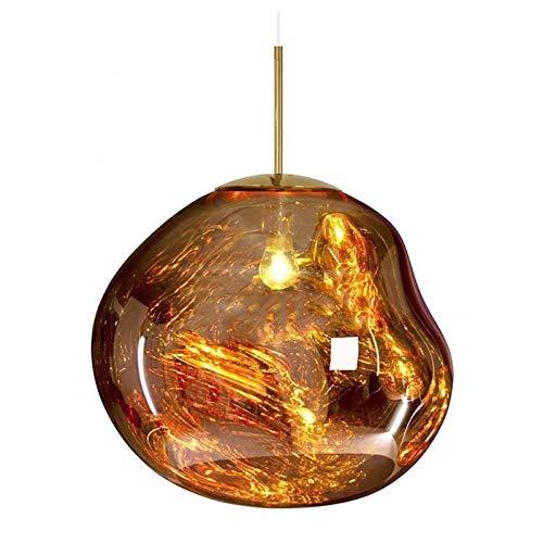 Lampe à suspension Lustres modernes Melt Lampes à suspension Lumières Verre Lave Irrégulier Cuivre Miroir Salon Lampes Suspendues pour Bar, Cuisine, Salon