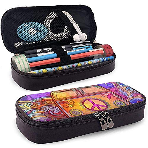Hippie Vintage Car PU Leather Pen Pen Bag 20 * 9 * 4 cm (8X3.5X1.5 Inches) Pouch Case Holder College Student Coin Purse Cosmetic Bag