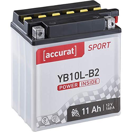 Accurat Motorrad-Batterie YB10L-B2 11Ah 140A 12V Standard-Nassbatterie inkl. Säurepack WET Starterbatterie in Erstausrüsterqualität leistungsstark
