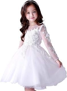 [eones]ドレス 子供服 ホワイト ミニ 女の子 フォーマル 純白 レース 花 立体 刺繍 発表会 誕生日 パーティー プレゼント ギフト(9718)