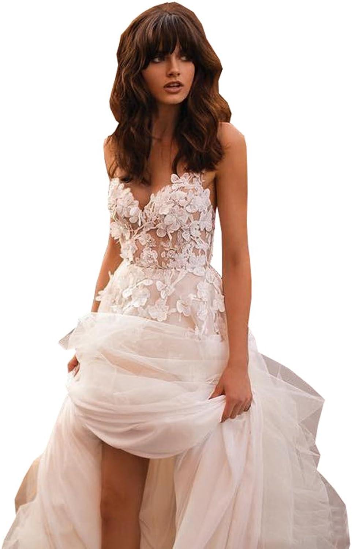 Ellystar Women's ALine Sleeveless Backless Sweetheart Tulle Wedding Dresses