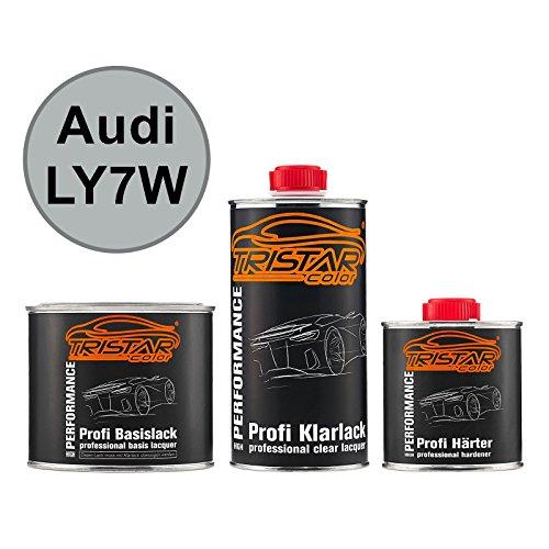 TRISTARcolor Autolack Set Dose spritzfertig für Audi LY7W Silbersee Metallic/Argent Metallic Basislack + 2K Klarlack 1,25L