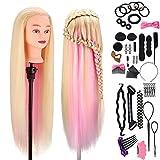 Tête a coiffer professionnelle, MYSWEETY 100% Cheveux Fibre Synthétique pour Salon de Coiffure, Tête Mannequin Maquillage avec Table Support et Ensemble de Tresse, blond-pink 73,6cm