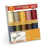 Gutermann 734521-3 - Set di fili in cotone naturale, 50 rocchetti da 100 m, multicolore