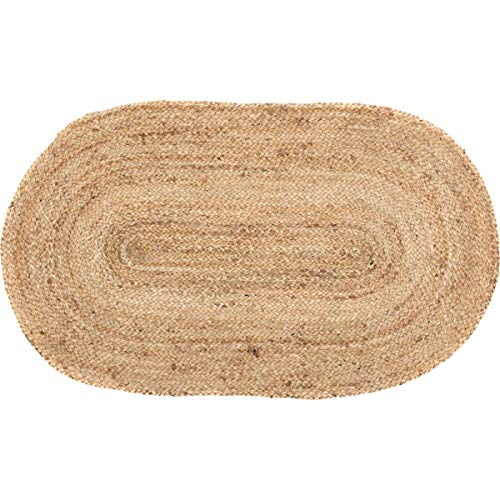 VHC Brands Natural Jute Rug Country Farmhouse Entryway or Kitchen Small Welcome Mat Oval Non Skid Pad 20x30