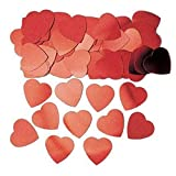 SHATCHI 14 Gram Jumbo/Small Heart Shape Confetti Wedding Anniversary Birthday Mother's Day Party Table Gifts Decorations, Large Red
