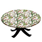 Elastic Edged Polyester Fitted Table Cover,Christmas Themed Floral Poinsettia Winter Inspirations Berries Leaf,Fits up 45'-56' Diameter Tables,The Ultimate Protection for Your Table,Vermilion Green Ye