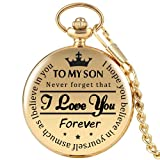 GORBEN Relojes de bolsillo grabados con texto en inglés 'I Love You Forever' y cadenas de clip para llavero de cuarzo, Color dorado.,