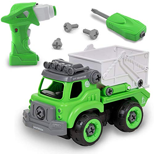Izzya Remote Control Take Apart Garbage Truck – Take Apart Toys with Electric Drill - DIY Assembly with Realistic Sounds for Boys and Girls