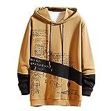 Yuinb Herren Bluse, Kapuzen-Sweatshirt, Langarm, Bluse, Antik-Druck, T-Shirt, atmungsaktiv, weich, Sweatshirt, Größe M-5XL Gr. L, kaki