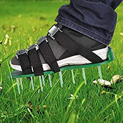 [High Quality] Durable PP board with anti corrosive metal nails, lightweight, low cost and long lasting, way much cheaper than aerating machine [High Efficiency] Total 26pcs ultra sharp long spikes, length 5cm/2 inch, penetrate soil and grass roots e...