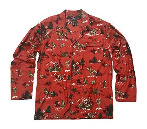 Polo Ralph Lauren Mens Flannel Plaid Button-Down Shirt Red/Adorondack Scenic Print Medium