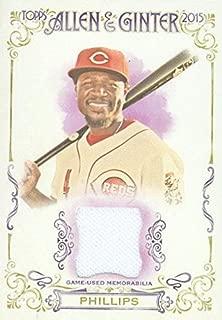 Autograph Warehouse 343510 Brandon Phillips Player Worn Jersey Patch Baseball Card - Cincinnati Reds 2015 Topps Allen & Ginters No. FSRA-BP